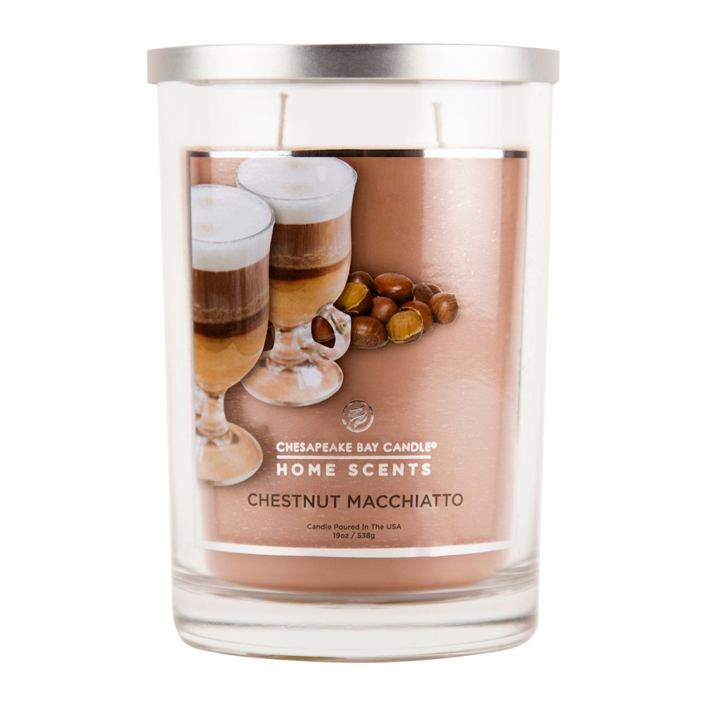 19oz Lidded Glass Jar 2-Wick Candle Chestnut Macchiatto - Home Scents By Chesapeake Bay Candle, Brown