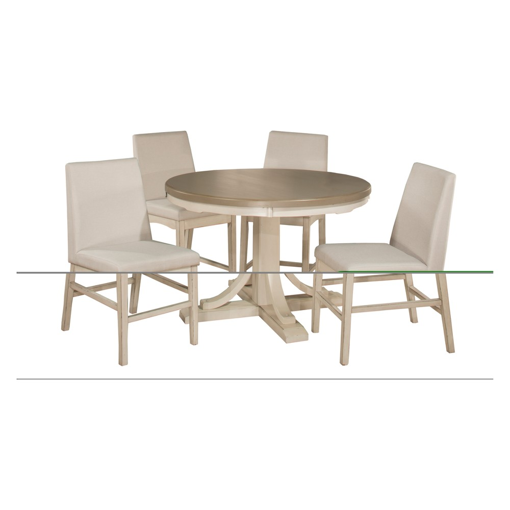 Clarion 5pc Round Counter Height Dining Set with Parson Stools Gray Fog Fabric - Hillsdale Furniture