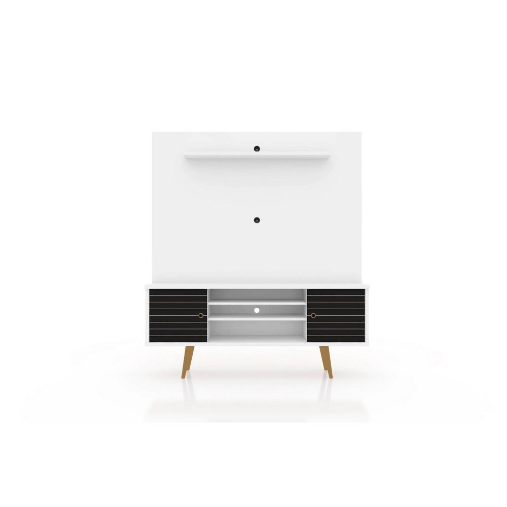 63 Liberty Freestanding Entertainment Center with Overhead Shelf White/Black - Manhattan Comfort