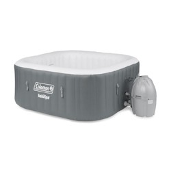 Coleman SaluSpa 4 Person Square Portable Inflatable Outdoor Hot Tub Spa, Gray