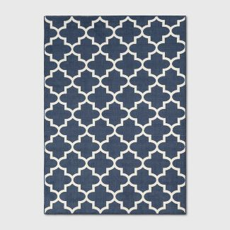 5'X7' Fretwork Design Tufted Area Rugs Navy Blue - Threshold™