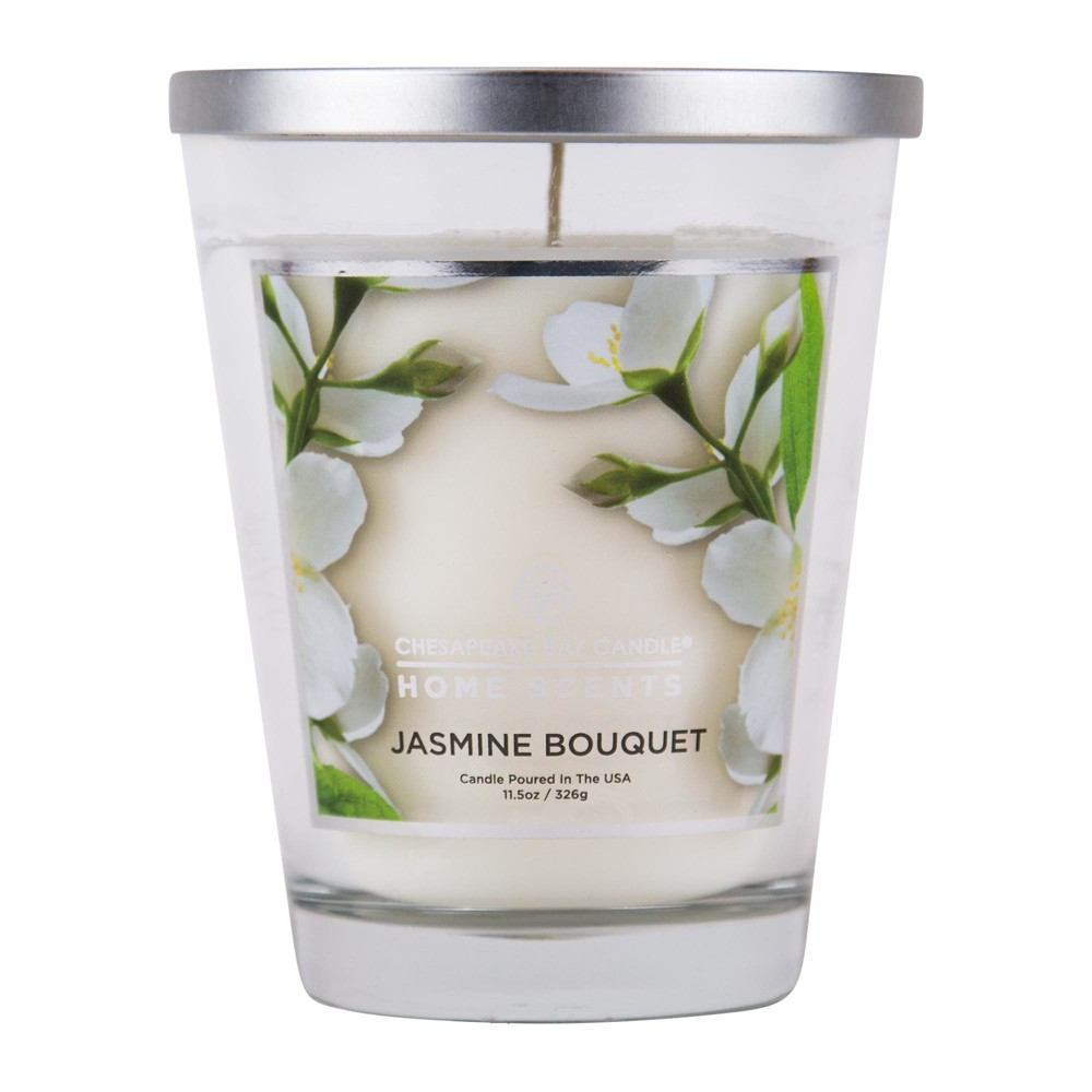 Image of 11.5oz Lidded Glass Jar Candle Jasmine Bouquet - Home Scents By Chesapeake Bay Candle, White