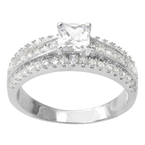 1 CT. T.W. Princess-Cut Cubic Zirconia Basket Set Engagement Ring in Sterling Silver - Silver - image 1 of 3