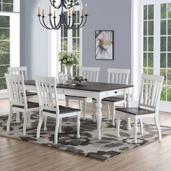 7pc Joanna Two Tone Dining Set Ivory/Charcoal - Steve Silver
