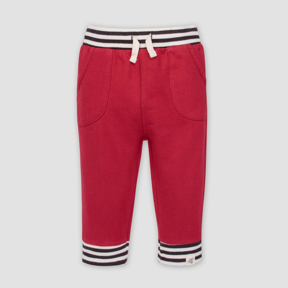 Image of Burt's Bees Baby Baby Boys' French Terry Striped Cuff Organic Cotton Pull-on Pants - Red 0-3M, Boy's