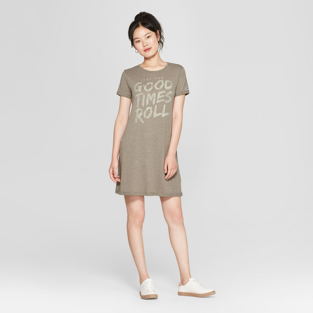 petiteJunk Food Women's Short Sleeve Good Times Roll Graphic T-Shirt Dress - Green XS was $24.0 now $7.19 (70.0% off)