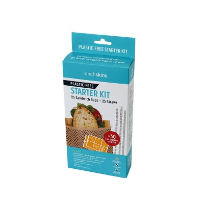Lunchskins Sandwich Bag and Straw Combo Starter Kit - 5.4oz/25ct