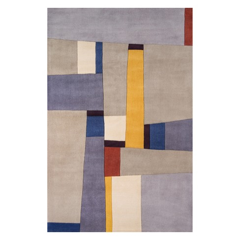 """3'6""""x5'6"""" Color Block Tufted Accent Rug Gray - Momeni - image 1 of 4"""
