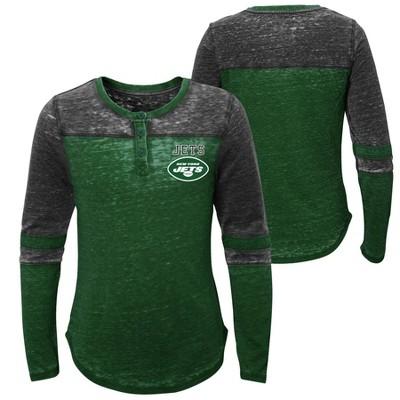 NFL New York Jets Girls' Reverse Pass Burnout Long Sleeve Henley T-Shirt