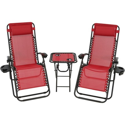Zero Gravity Lounge Chairs and Table with Cup Holders Set - Red - Sunnydaze Decor