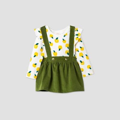 Baby Girls' Corduroy Apple Skirtall Top & Bottom Set - Cat & Jack™ Green Newborn