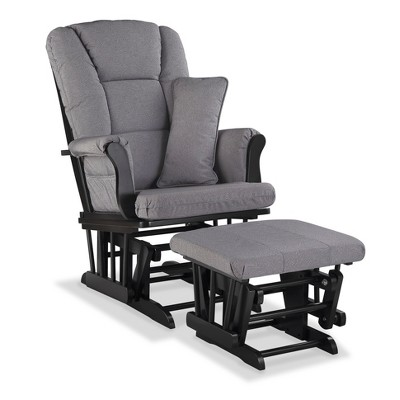 Stork Craft Tuscany Black Glider and Ottoman - Slate Gray Swirl