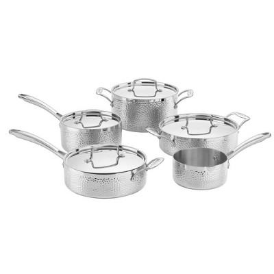 Cuisinart 9pc Stainless Steel Hammered Tri-Ply Cookware Set - HTP-9