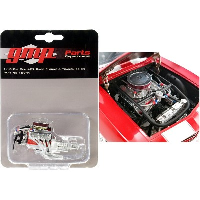 """Big Red 427 Race Engine and Transmission Replica from """"1969 Chevrolet Camaro Big Red Camaro"""" 1/18 Scale by GMP"""