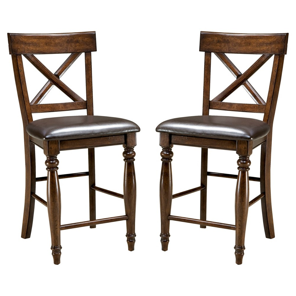 "Image of ""24"""" Kingston X Back Barstool with Faux Leather Seat Dark Raisin Finish (Set of 2) - Intercon, Brown"""
