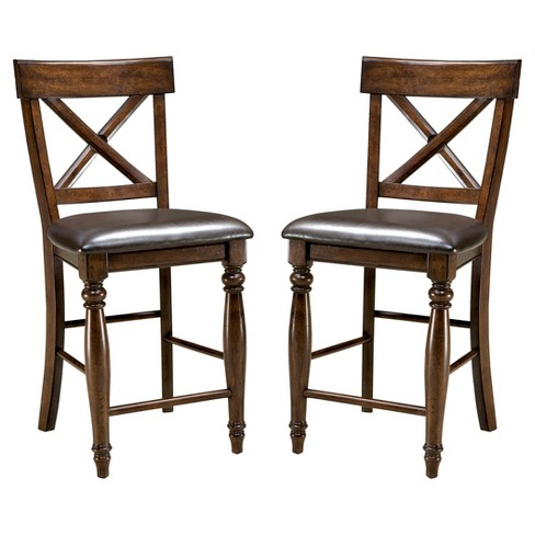 "Kingston 24"" X Back Barstool with Faux Leather Seat Dark Raisin Finish (Set of 2) - Intercon - image 1 of 1"