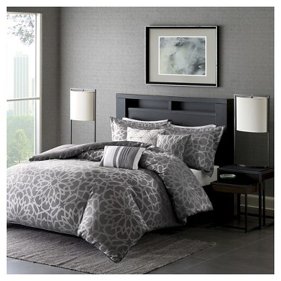 Carmela Duvet Cover Set (King/California King)Gray - 6 Piece