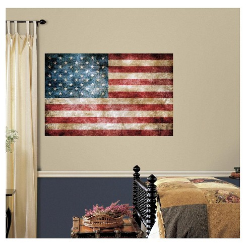 RoomMates Vintage American Flag Peel and Stick Giant Wall Decals - image 1 of 2