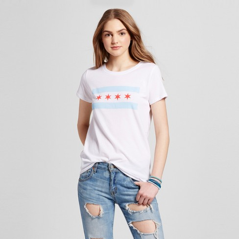 Women S Chicago Flag T Shirt Xs White Juniors Target