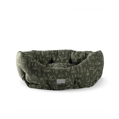 PetShop by Fringe Studio Camping Olive Round Cuddler Dog Bed