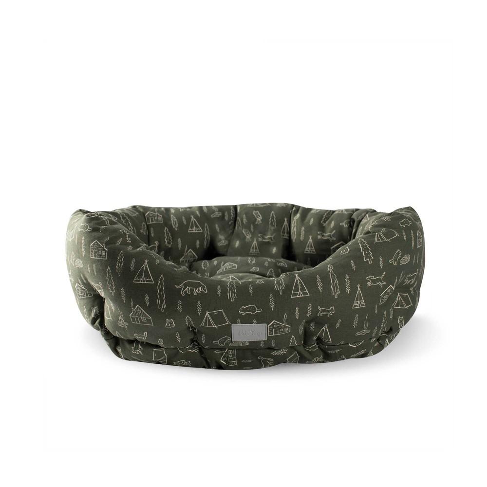 Petshop By Fringe Studio Camping Olive Round Cuddler Dog Bed M