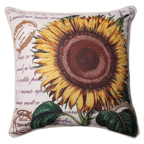 "Pillow Perfect Sunflower Corded Throw Pillow - Off-White (16.5"") - image 1 of 1"