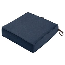 Montlake Fadesafe Square Patio Lounge Seat Cushion Set- Heather Indigo Blue - Classic Accessories