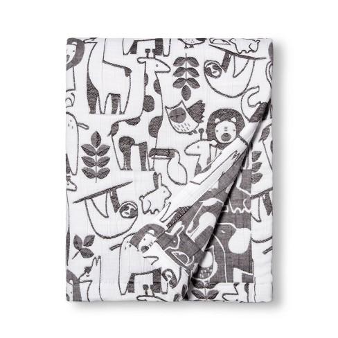 Muslin Quilt Blanket Animals - Cloud Island™ White/Black - image 1 of 2