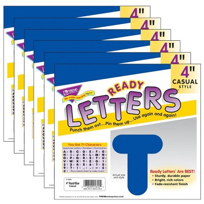 """6pk 4"""" Casual Uppercase Ready Letters Royal Blue - TREND"""