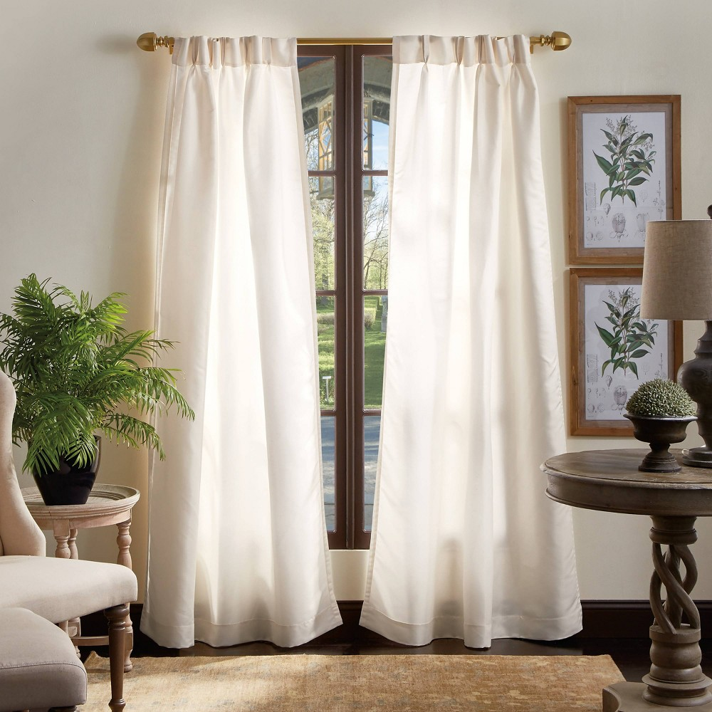 "Image of ""Set of 2 84""""x30"""" Faux Silk Faille Solid Light Filtering Curtain Panels Ivory - Martha Stewart"""