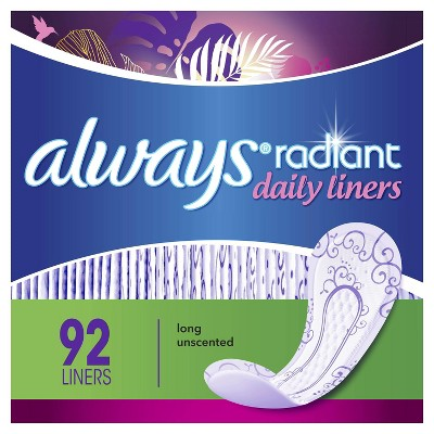 Always Radiant Daily Liners - Long - Unscented - 92ct