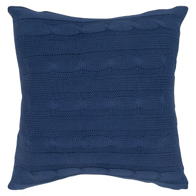 Navy Sweater Knit Throw Pillow 18 x18  - Rizzy Home®