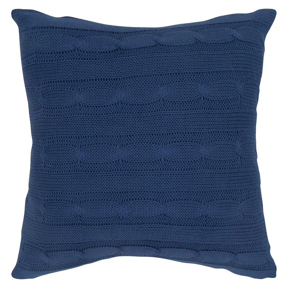 "Image of ""Navy (Blue) Sweater Knit Throw Pillow 18""""x18"""" - Rizzy Home"""