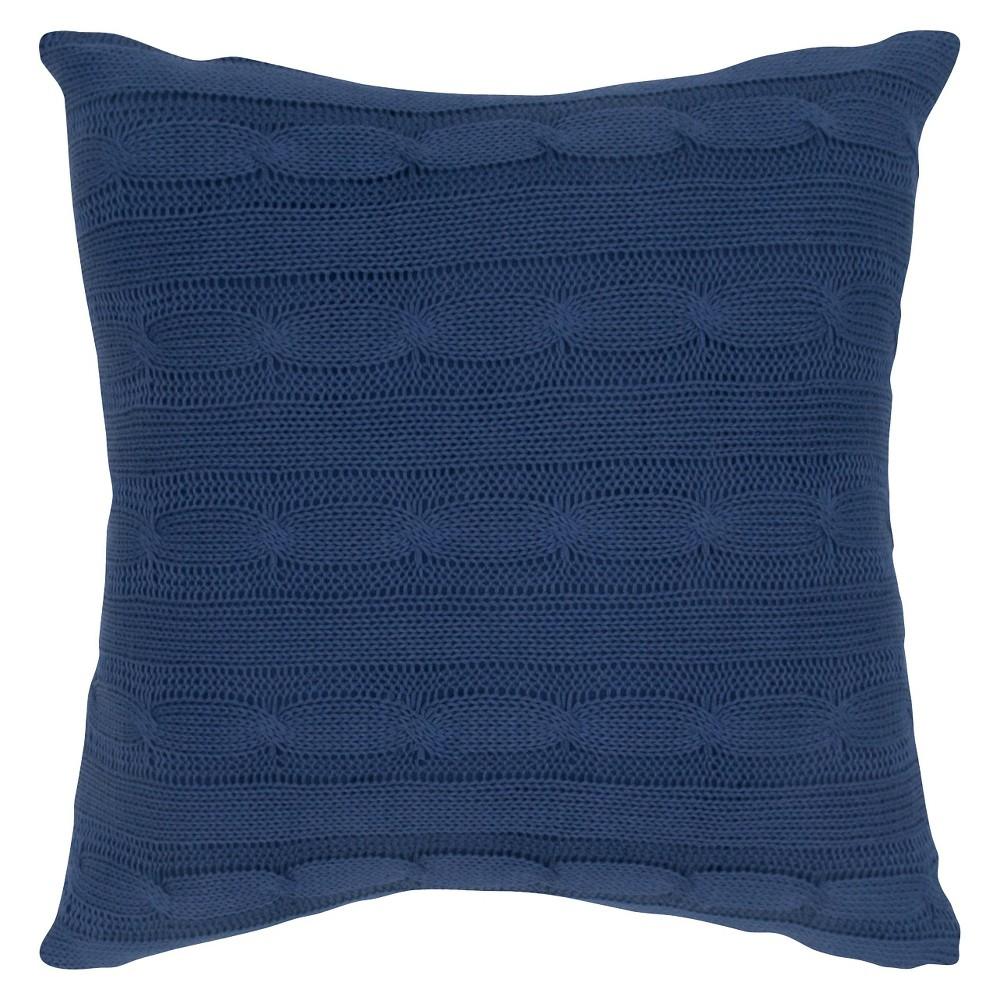 Navy (Blue) Sweater Knit Throw Pillow 18