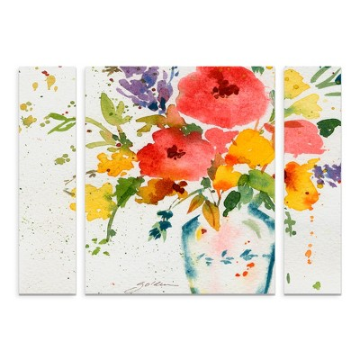 27 x33.5  Sheila Golden 'White Vase with Flowers' Multi Panel Decorative Wall Art set - Trademark Fine Art