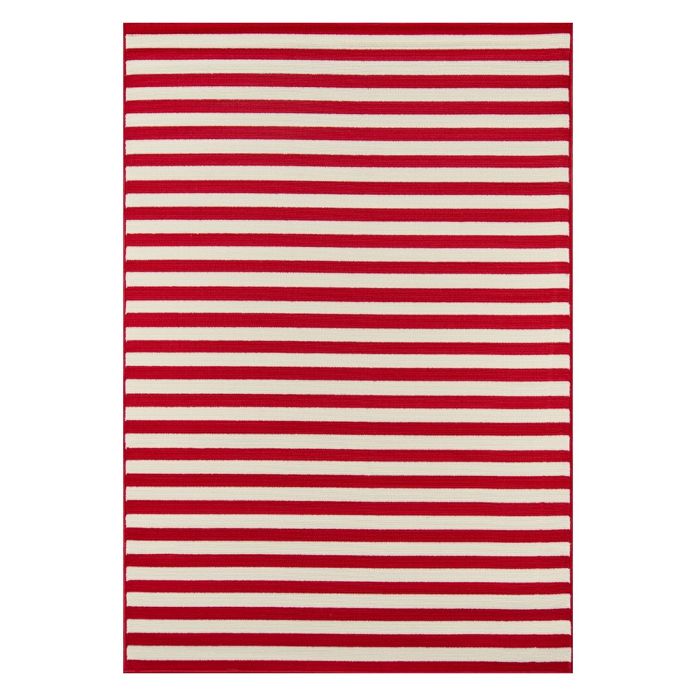 Stripe Loomed Accent Rug Red
