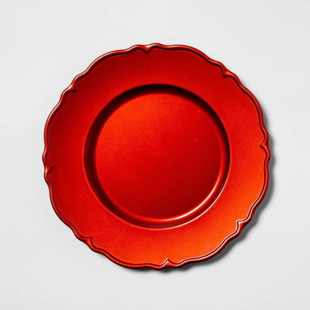"Image of ""12.9"""" Plastic Scalloped Decorative Charger Red - Threshold"""