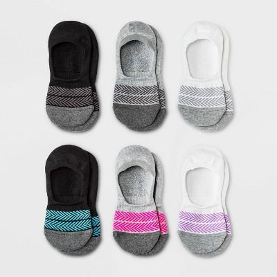Women's Chevron Cushioned 6pk Liner Athletic Socks - All in Motion™ White/Gray/Black 4-10