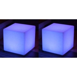 "2 Main Access 16"" Pool/Spa Waterproof & Floating LED Light Seats, Cube"
