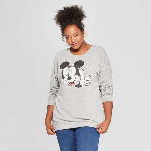 2c865c00a43 Women s Disney Plus Size Mickey Mouse Graphic Pullover Sweatshirt (Juniors )  Gray