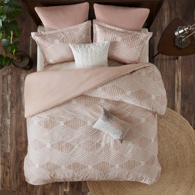 Ellipse Full/Queen 3pc Cotton Jacquard Duvet Cover Set Blush