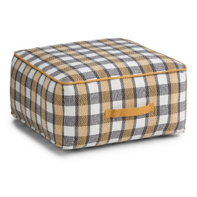 Hyatt Square Pouf Patterned Plaid Cotton - Wyndenhall