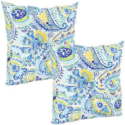 """19"""" Square Tufted Decorative Outdoor Pillow - Set of 2 - Aqua Paisley - Sunnydaze Decor"""