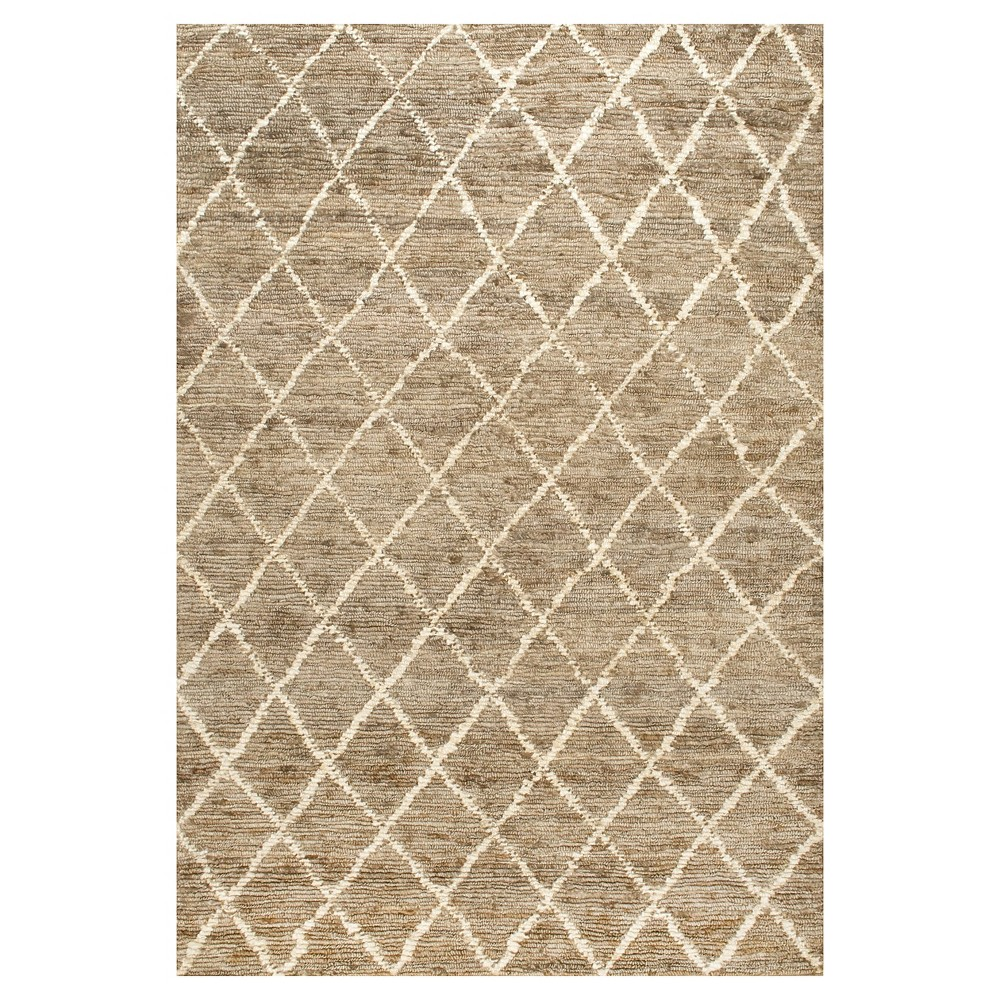 White Solid Knotted Area Rug - (9'x12') - nuLOOM, Natural