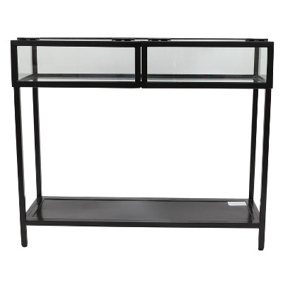 Claira Glass and Metal Console Table Black - Décor Therapy