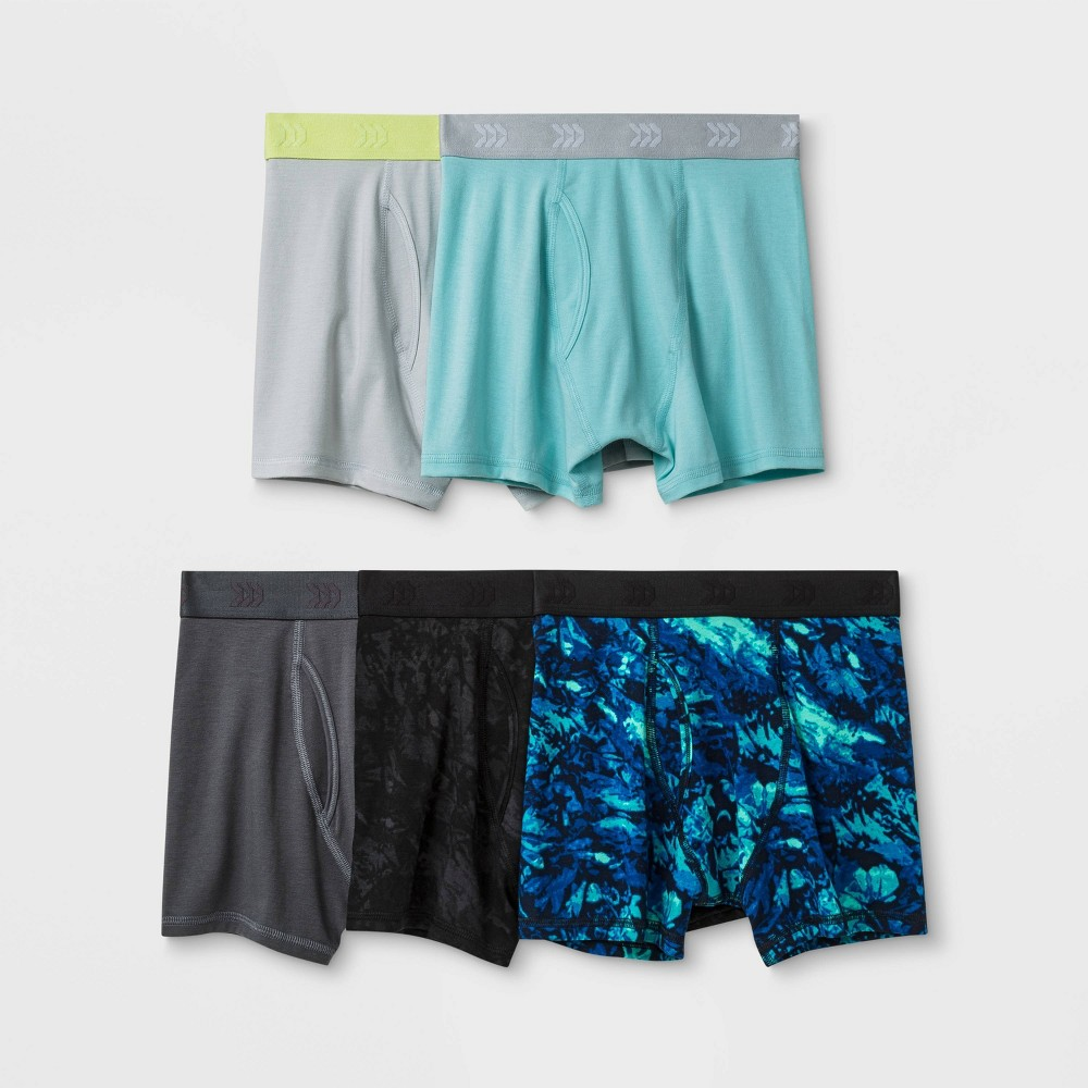 Image of Boys' 5pk Printed Boxer Briefs - All in Motion Gray L, Boy's, Size: Large
