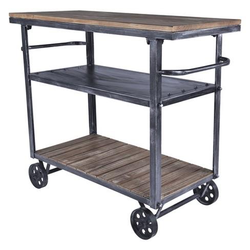 Malia Industrial Kitchen Cart Pine Modern Home