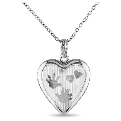 "Heart with Handprint Locket Pendant Necklace in Sterling Silver (18"")"