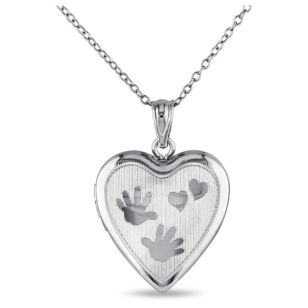 Heart with Handprint Locket Pendant Necklace in Sterling Silver (18)