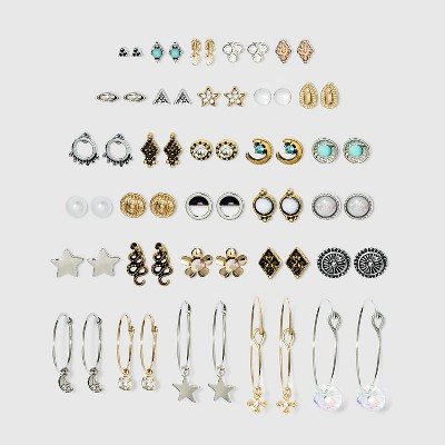 Multi Plate and Stone Earring Set 30pc - Wild Fable™